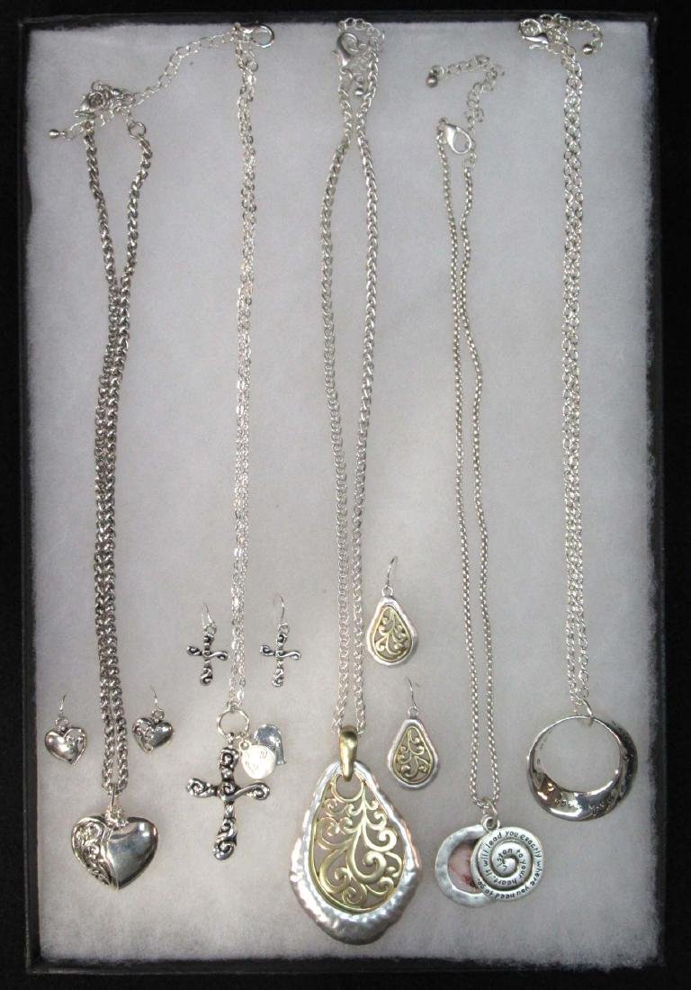 Lot of Silvertone Necklaces & Earrings