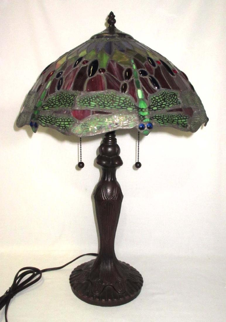 Modern Dragonfly Leaded Glass Lamp