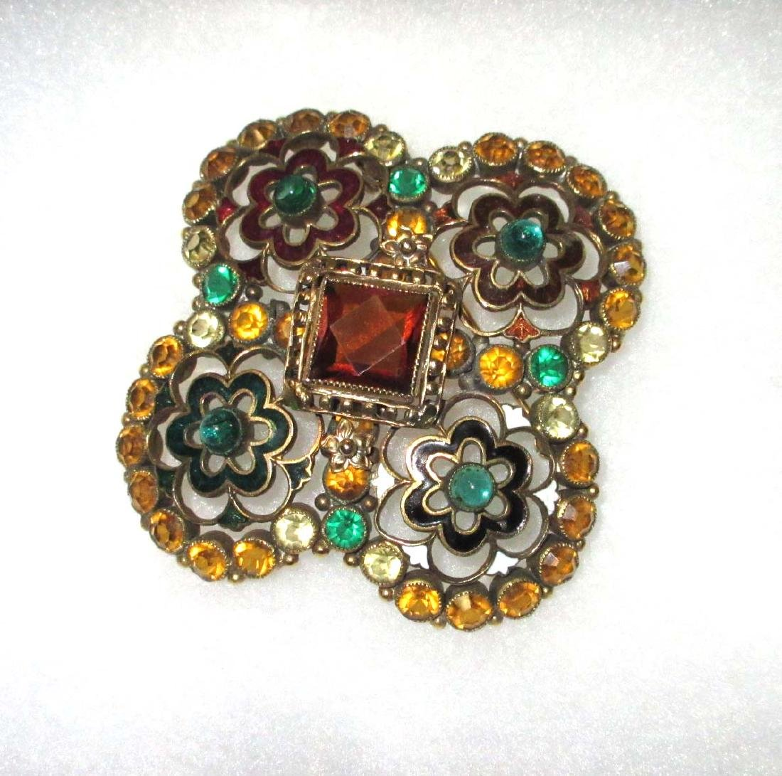 Rhinestone Enameled Maltesse Cross Pin