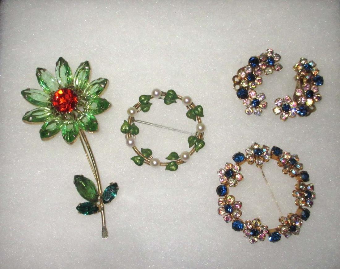 Weiss & Krementz Rhinestone Pins & Earrings
