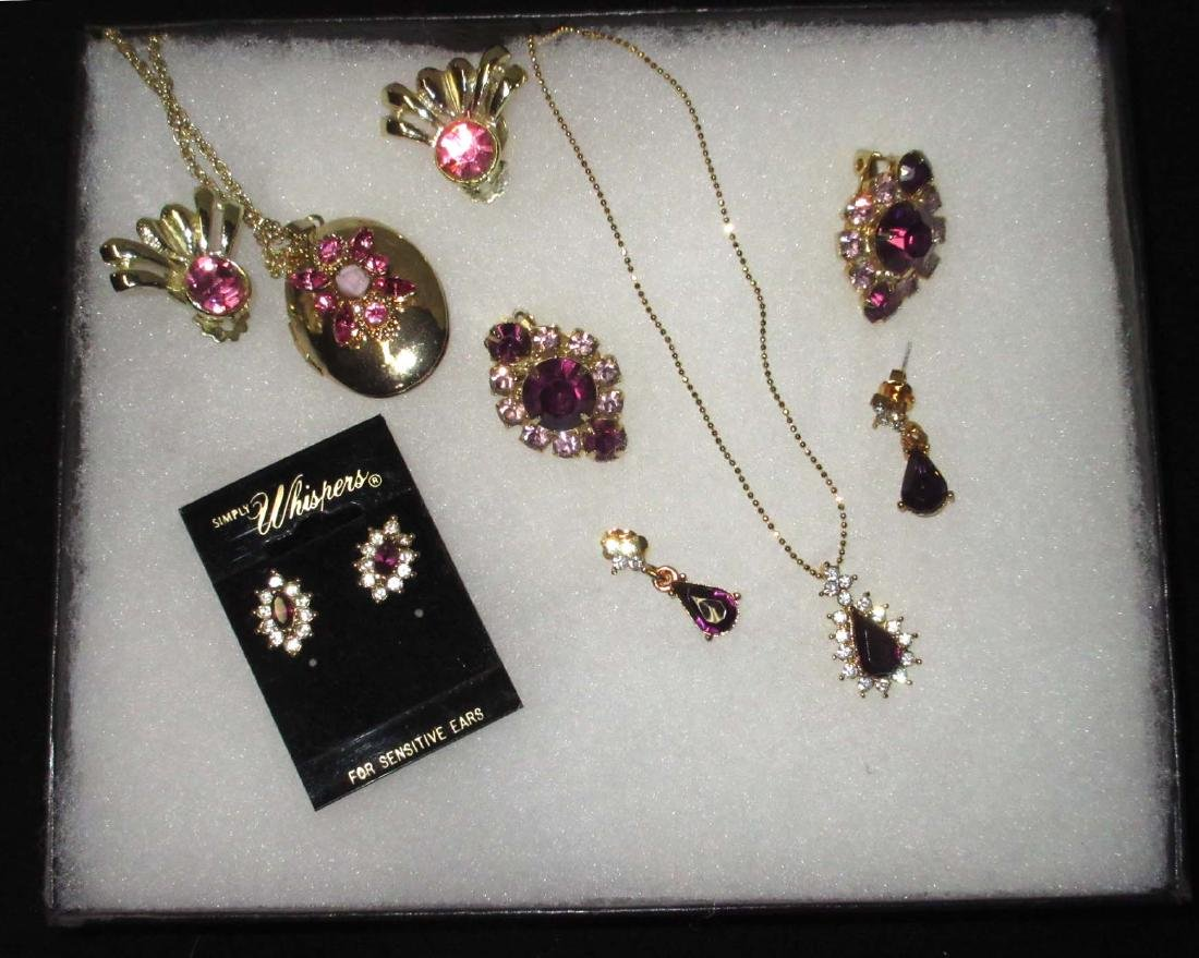 6 Piece Purple Pink Rhinestone Jewelry