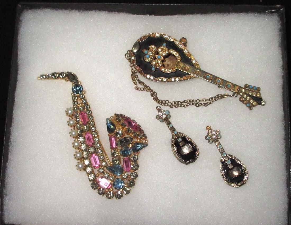 Rhinestone Saxophone Pin & Mandolin Pin & Earrings