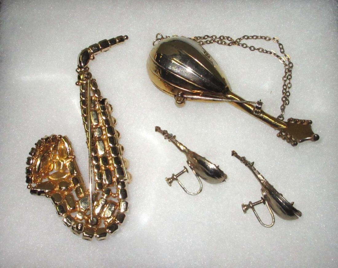 Rhinestone Saxophone Pin & Mandolin Pin & Earrings - 2