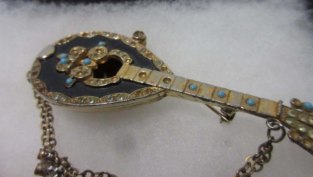 Rhinestone Saxophone Pin & Mandolin Pin & Earrings - 3