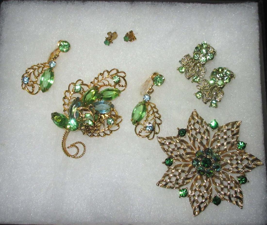 Goldtone Filigree & Green Rhinestone Jewelry 5 pieces