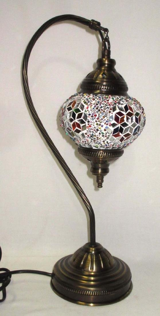 Brass Lamp with Mosaic Shade