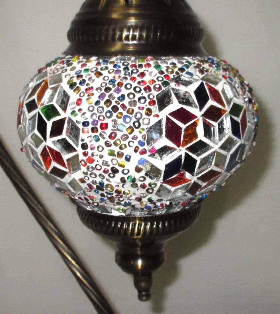 Brass Lamp with Mosaic Shade - 2