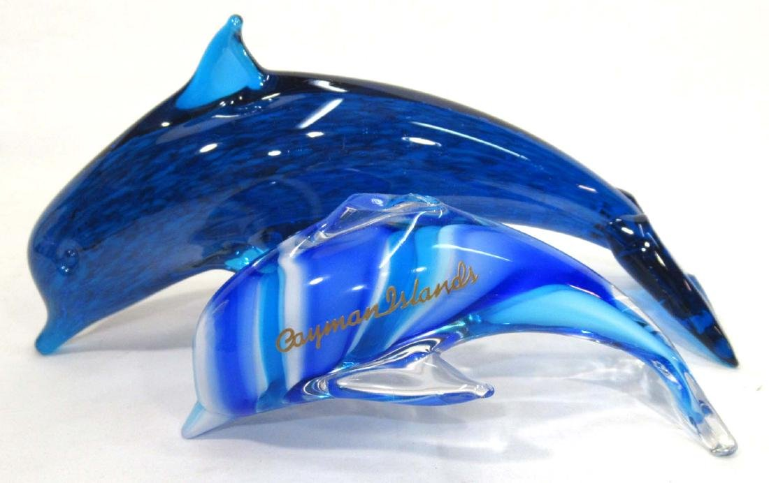 2pc Art Glass Dolphins
