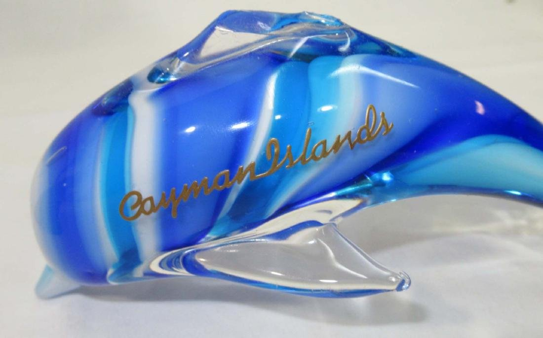 2pc Art Glass Dolphins - 2