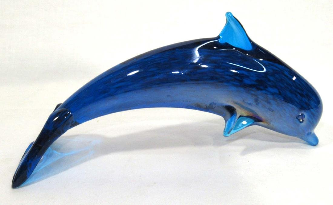 2pc Art Glass Dolphins - 3