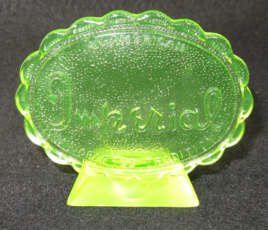 Vaseline Imperial Glass Dealer Sign