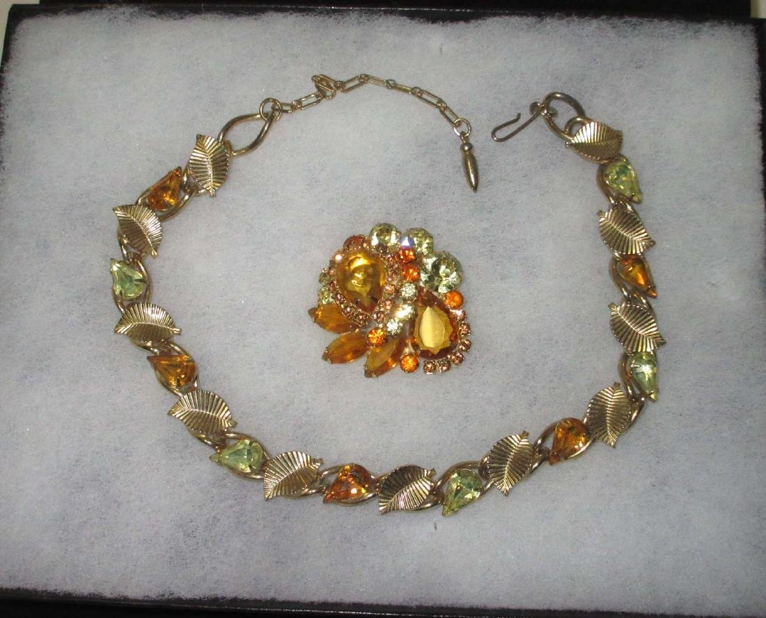 Juliana Amber & Citrine Pin & Unsigned Choker