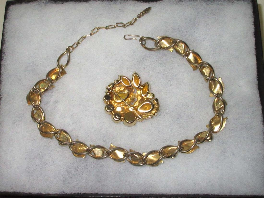 Juliana Amber & Citrine Pin & Unsigned Choker - 2