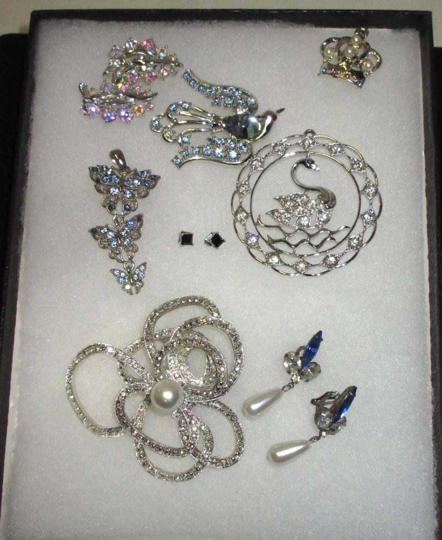 Ice Blue & Clear Rhinestone Jewelry