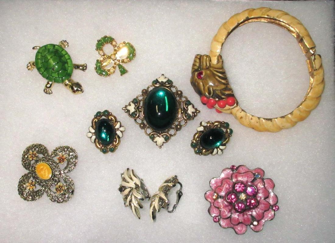 Enameled Pins, Earrings & Bracelet