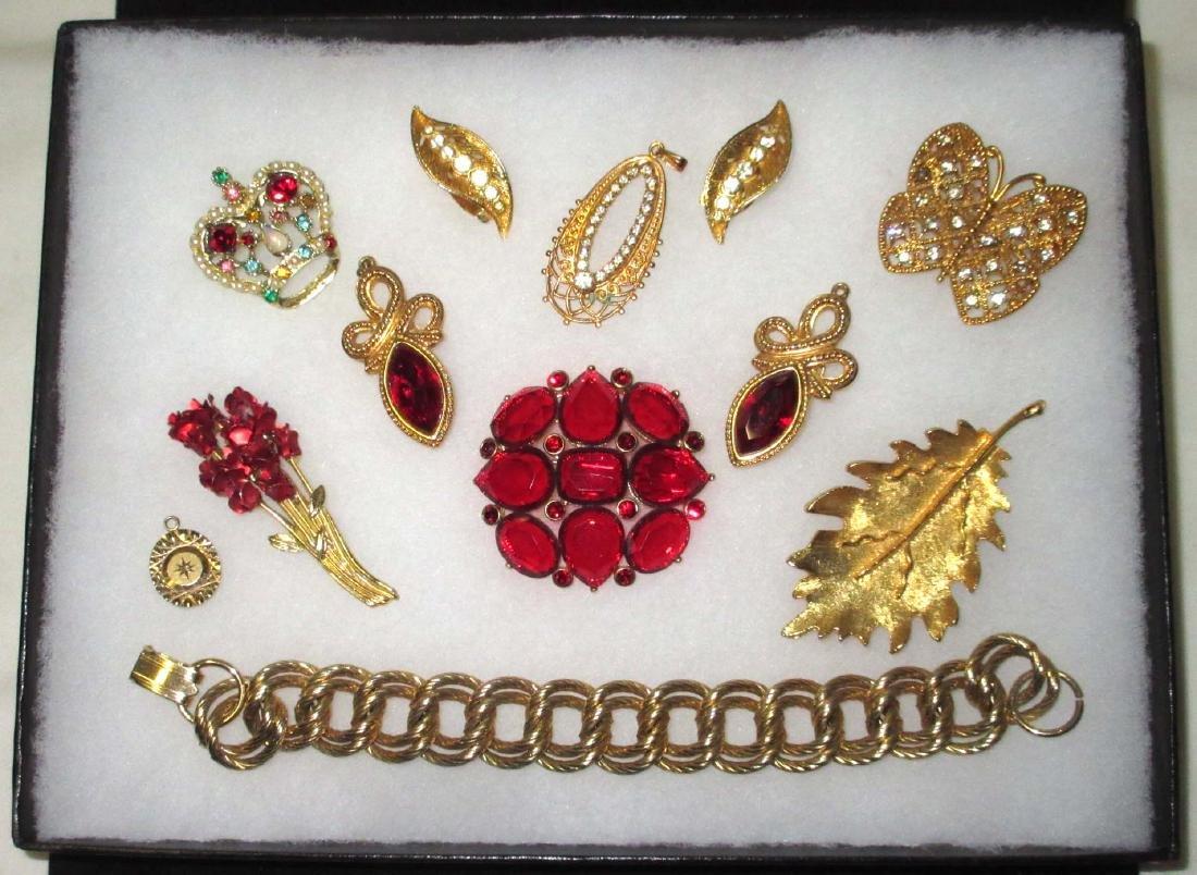 Red Rhinestone & Goldtone Jewelry