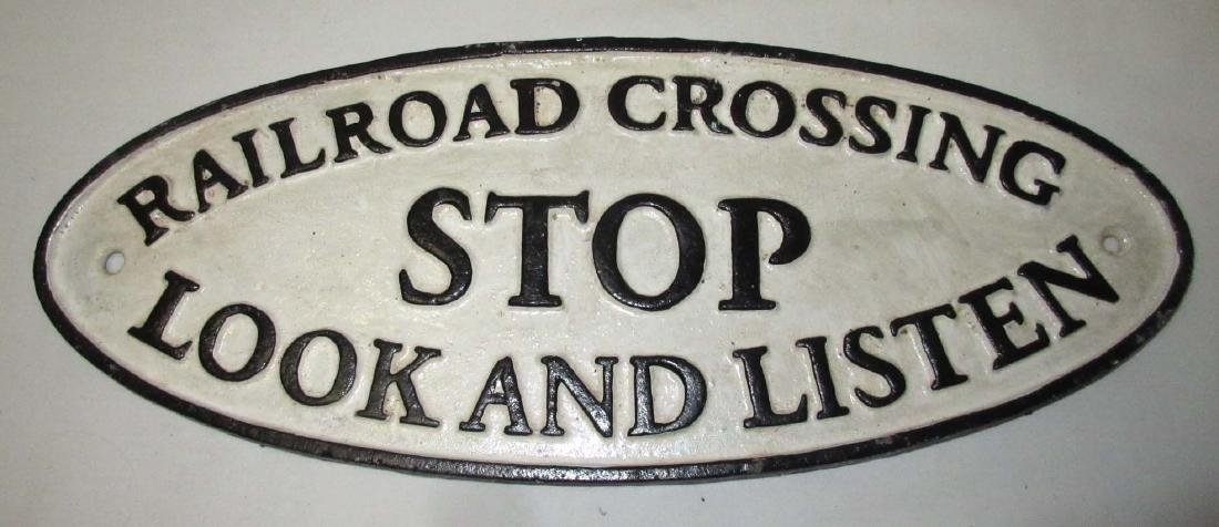 Cast Iron Modern Railroad Crossing Sign