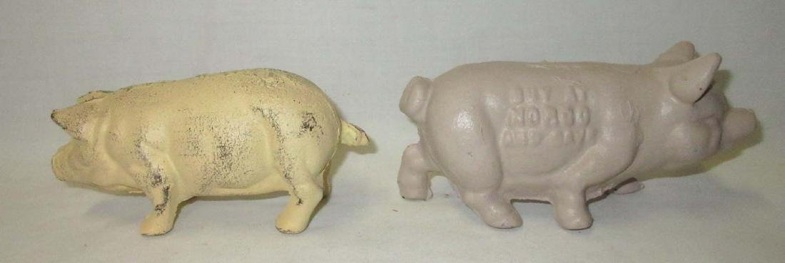3 Modern Cast Iron Pigs Blk one is a bank - 2