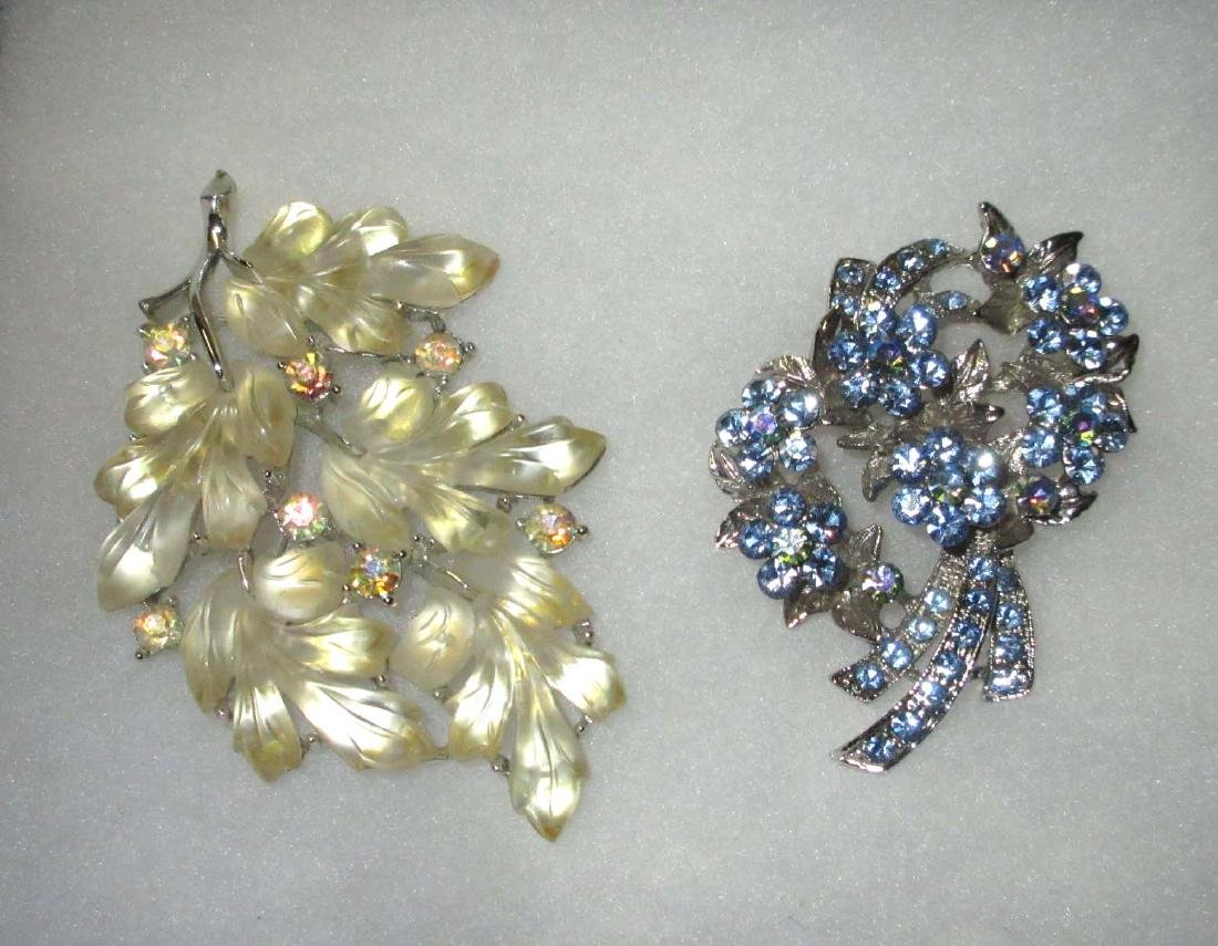 Lisner Pin & Ice Blue Rhinestone Pin