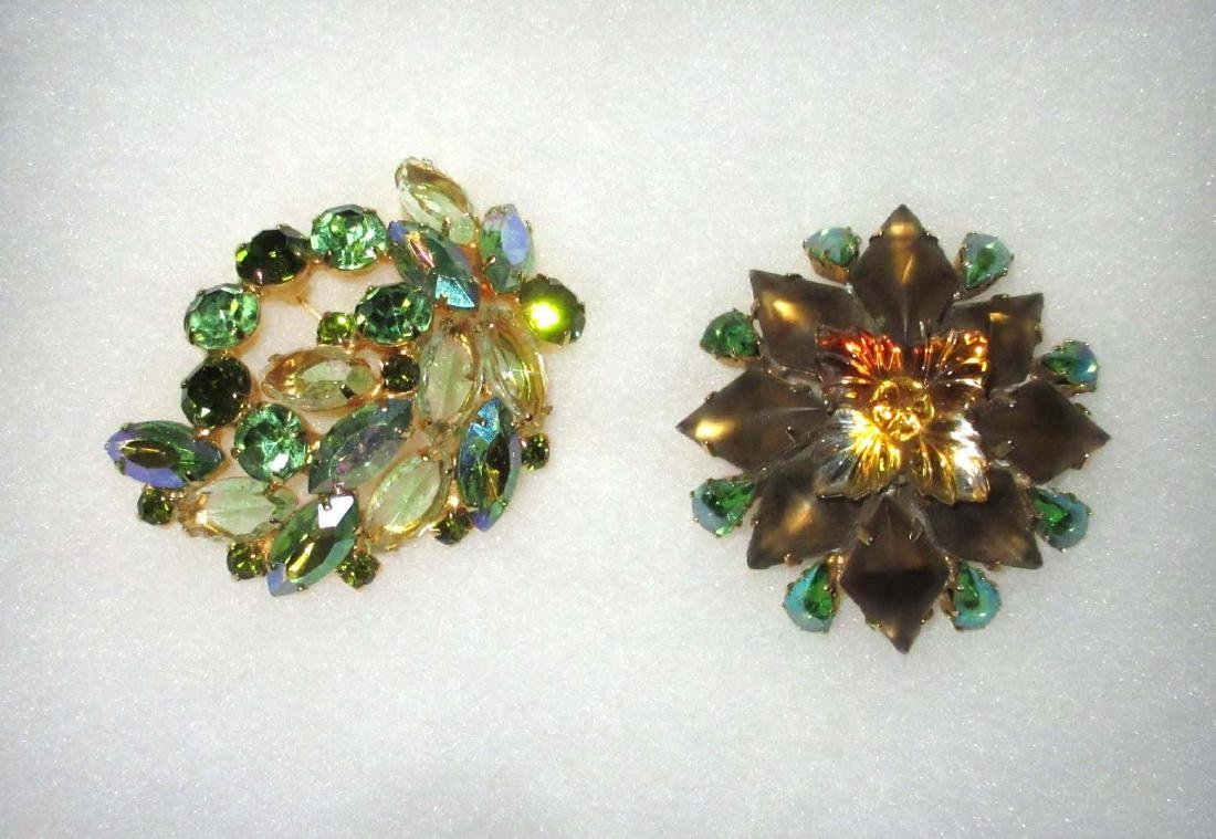 2 Domed Quality Rhinestone Pins