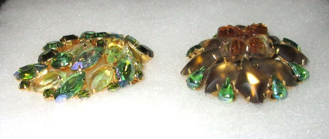 2 Domed Quality Rhinestone Pins - 2