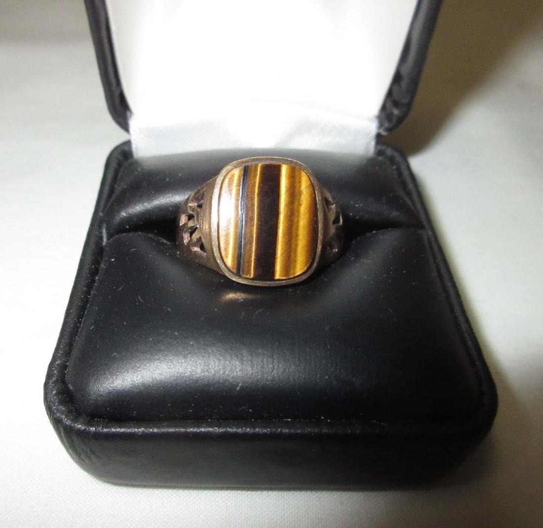 10K Gold Tiger Eye Ring Sz 10