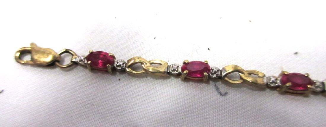 10K Gold Ruby Bracelet - 2