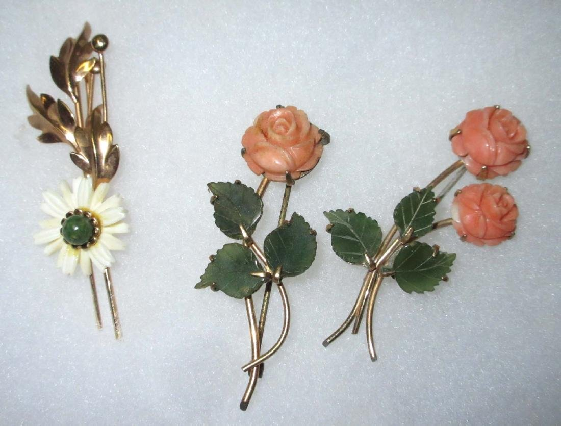 Carved Jade & Coral Pins 3 pieces