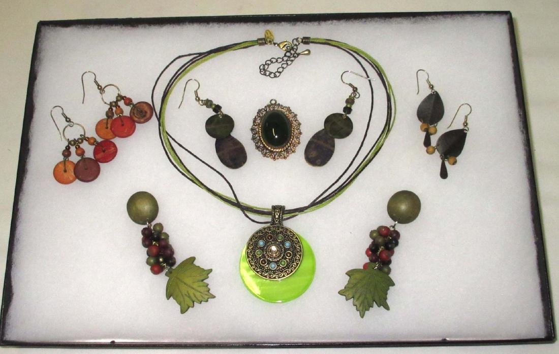 Painted Wood jewelry, Olive & Orange