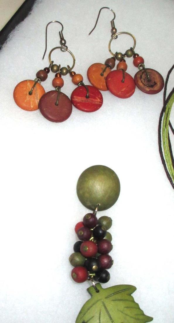 Painted Wood jewelry, Olive & Orange - 2