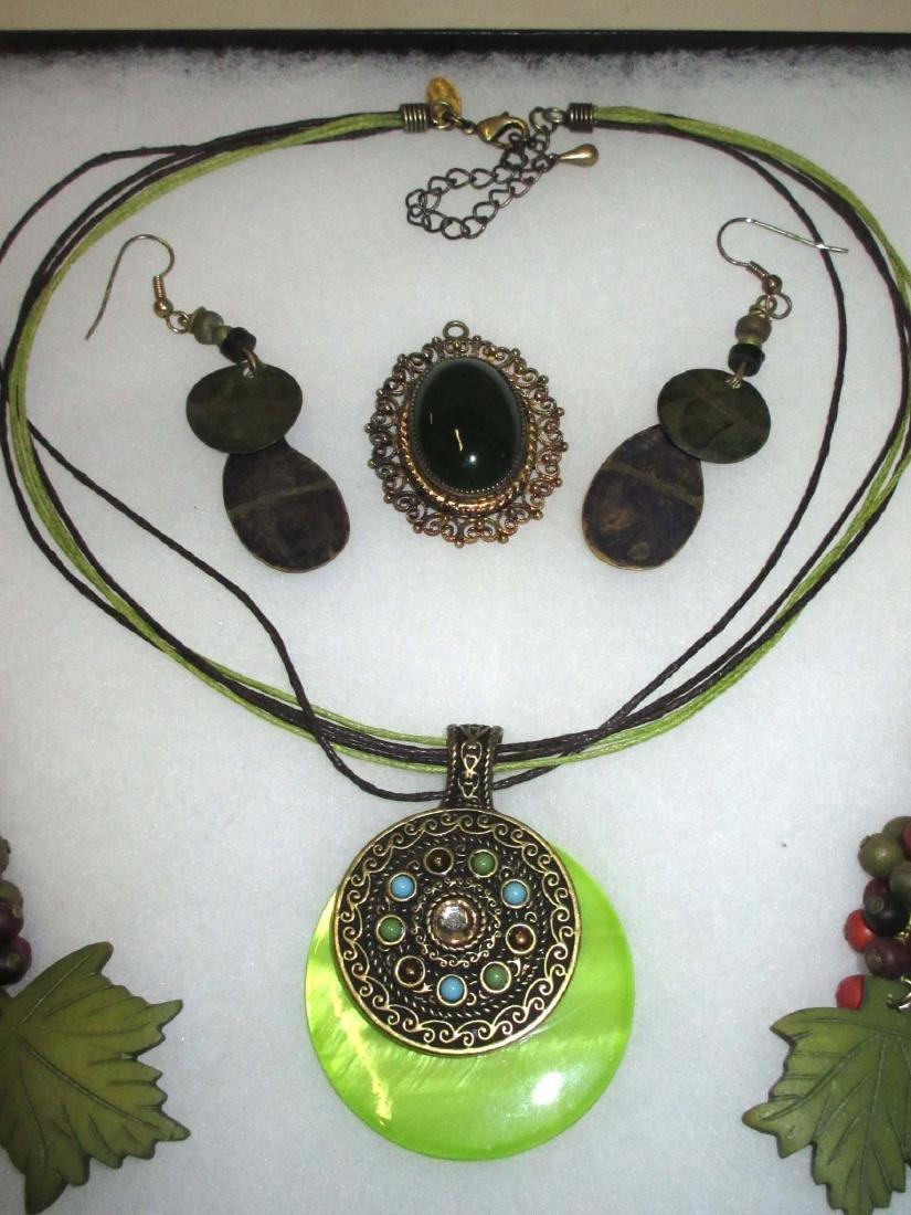 Painted Wood jewelry, Olive & Orange - 3