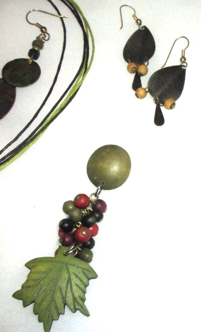 Painted Wood jewelry, Olive & Orange - 4