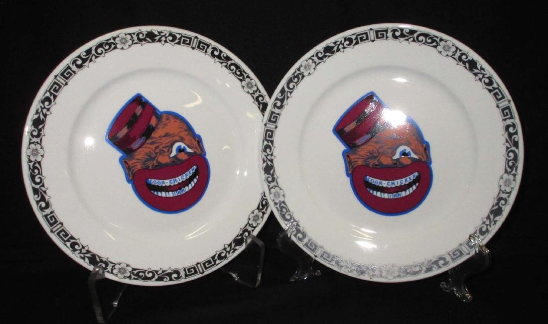 2 modern Coon Chicken Inn Plates