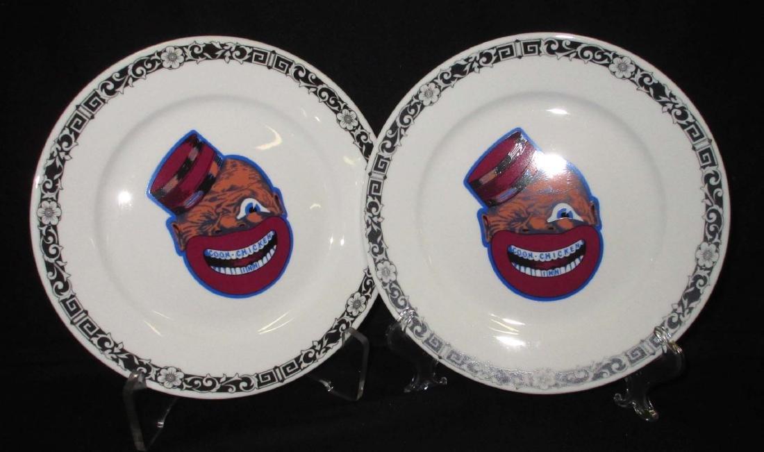 2 modern Coon Chicken Inn Plates