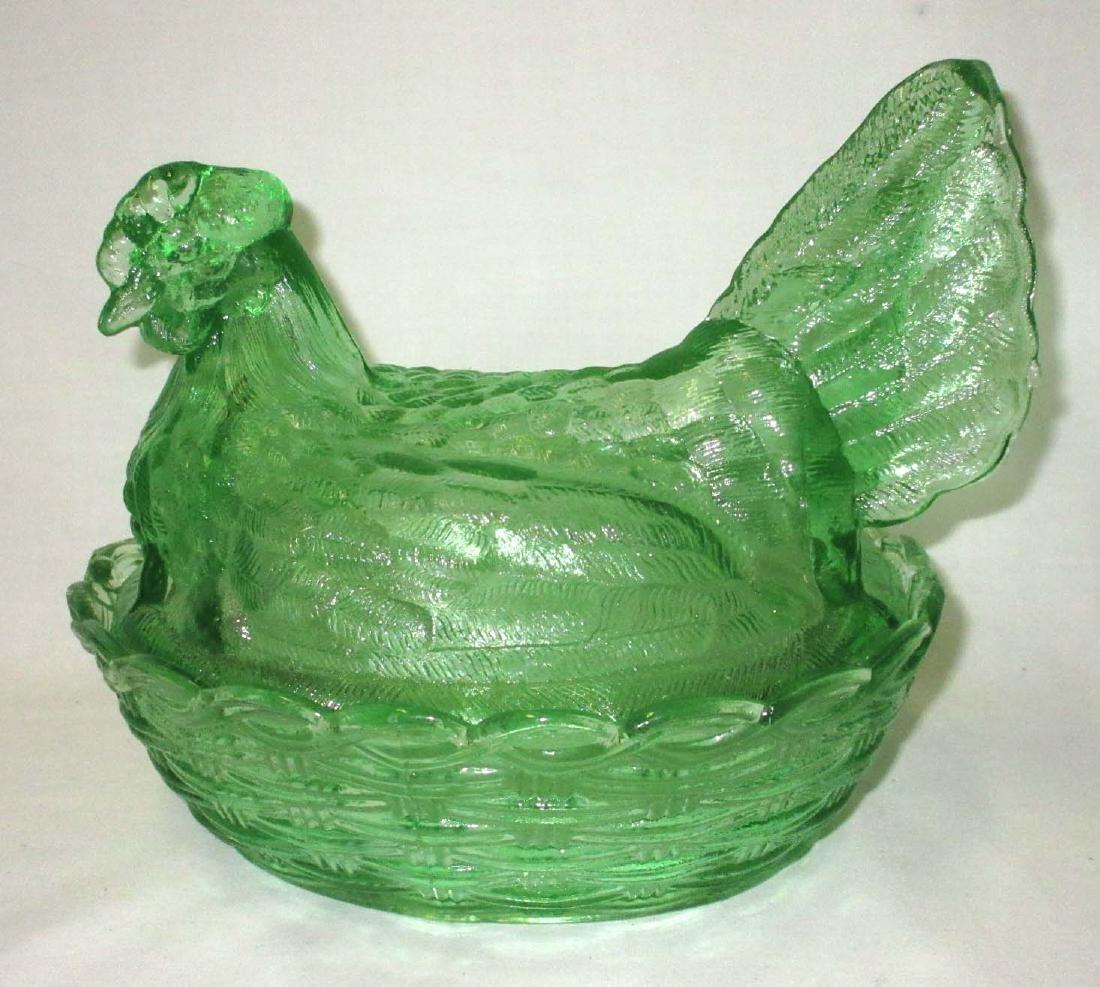 Green Hen on Nest