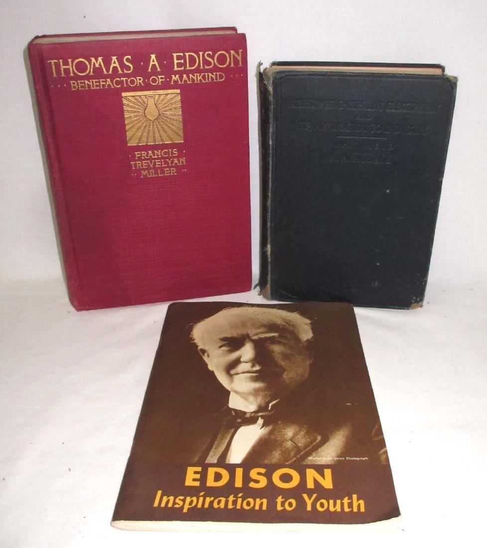 1916 1st Ed. A.C. Electricity Book & 2 Edison Books
