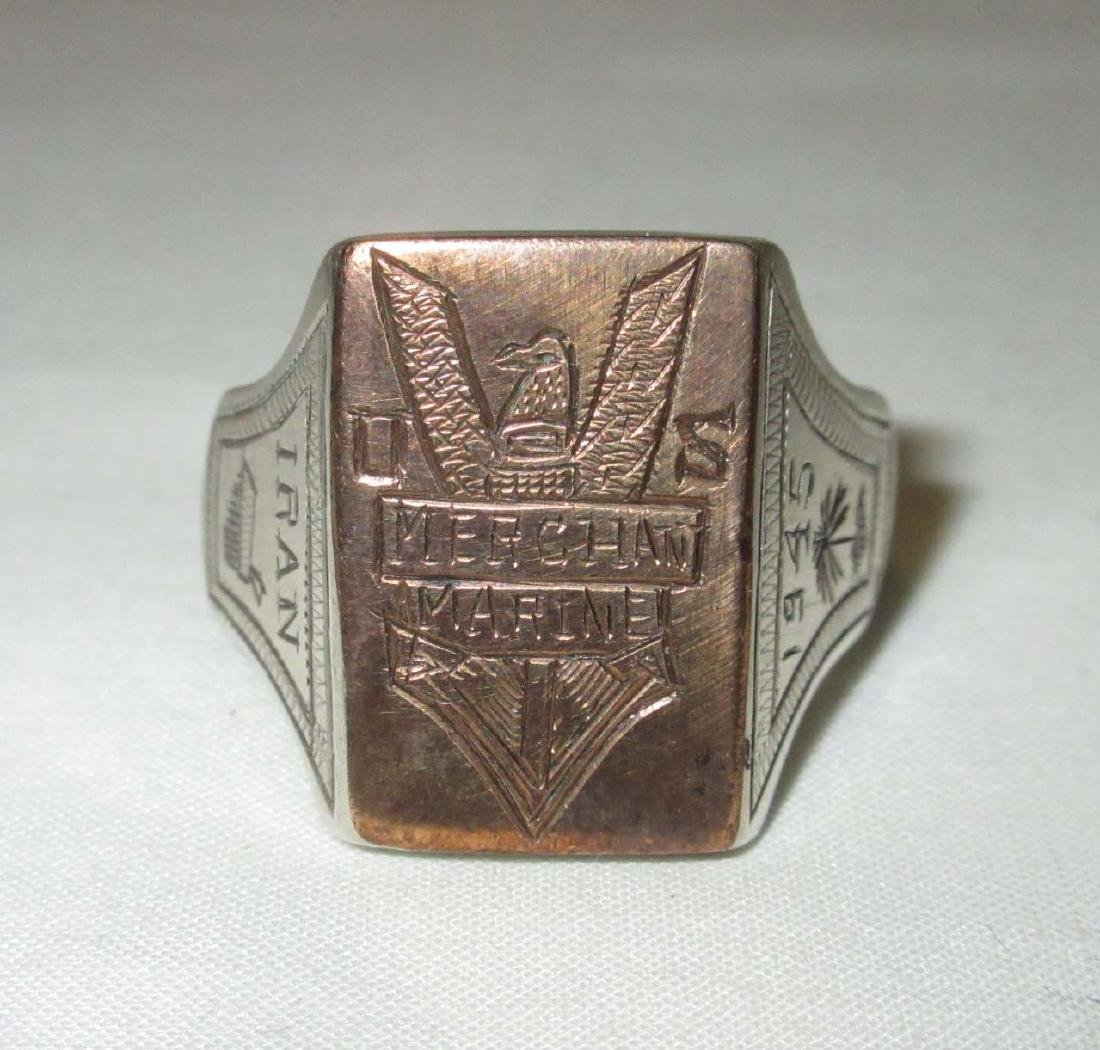 Silver & Gold 1945 Merchant Marine Ring