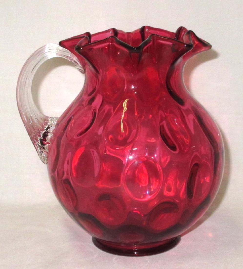 Cranberry Thumbprint Pitcher Applied Handle