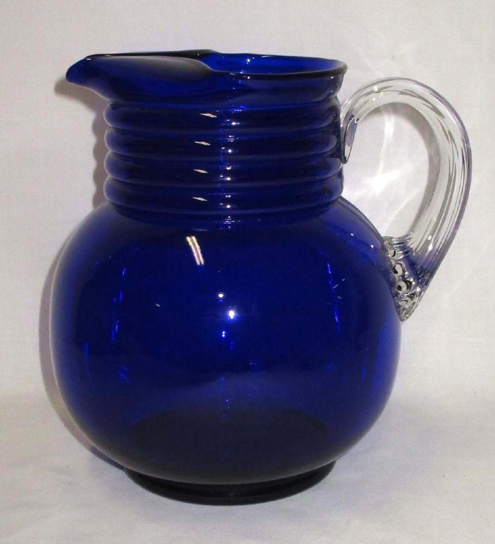 Cobalt Pitcher w/ Applied Handle