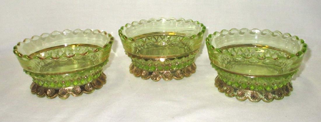3 Vaseline Glass Bowls