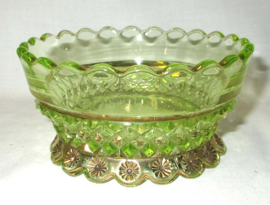 3 Vaseline Glass Bowls - 2