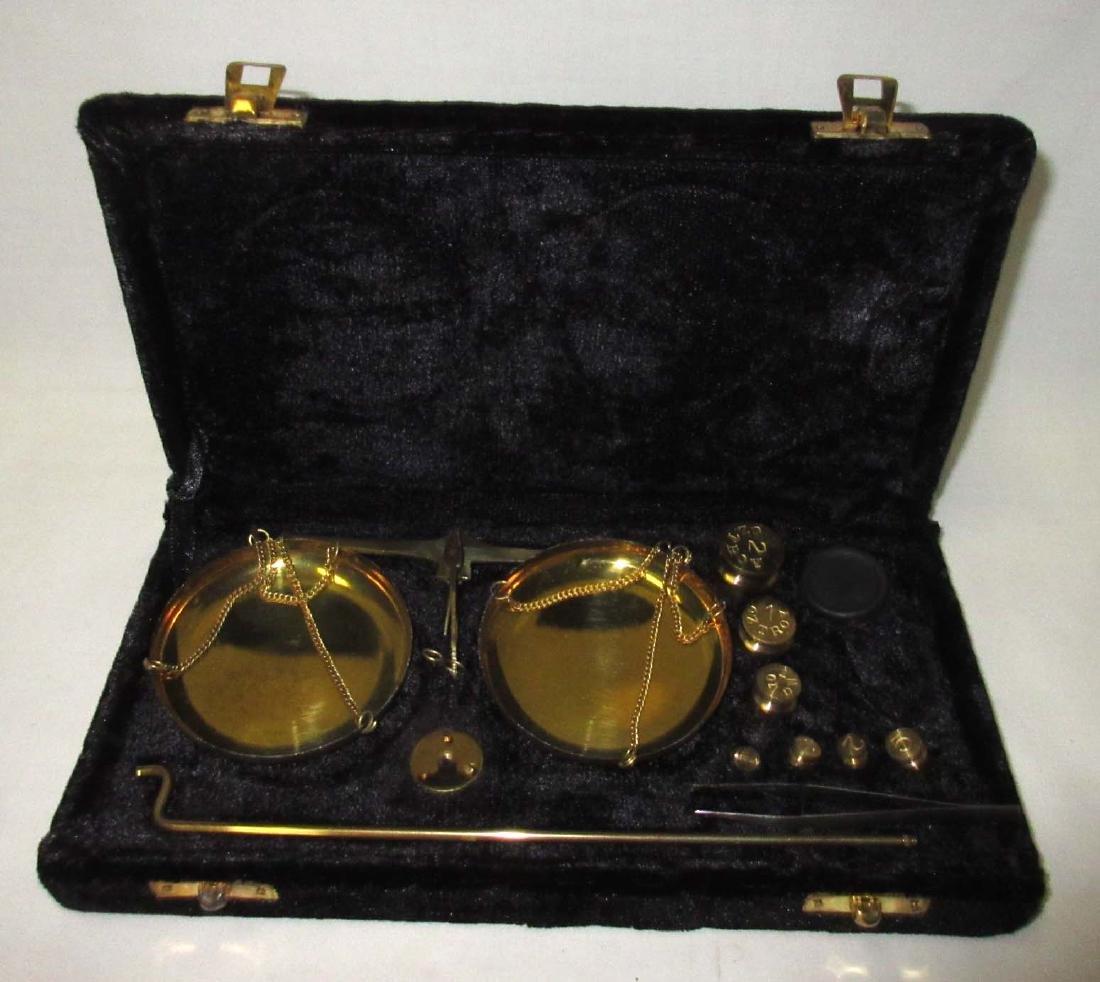 Modern Brass Gold Scales in case - 2