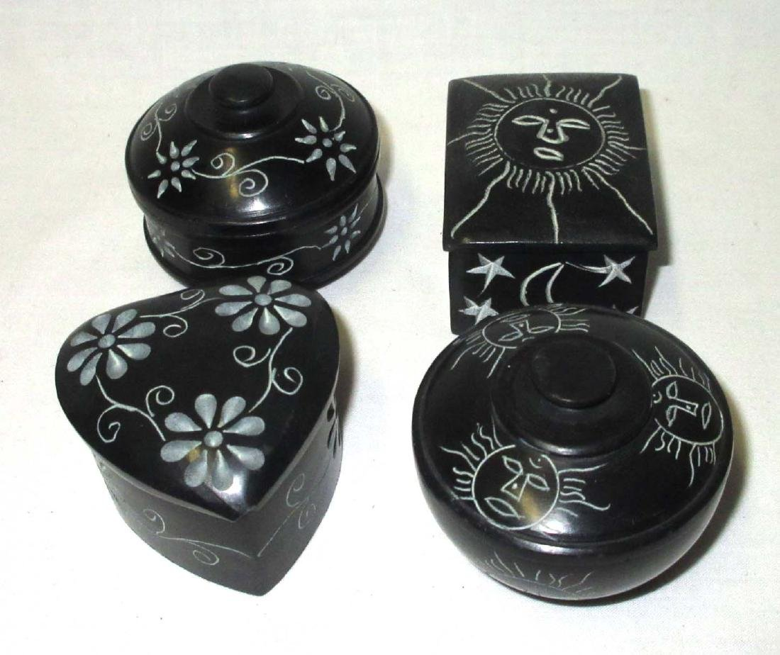 4 Carved Oriental Hardstone Boxes