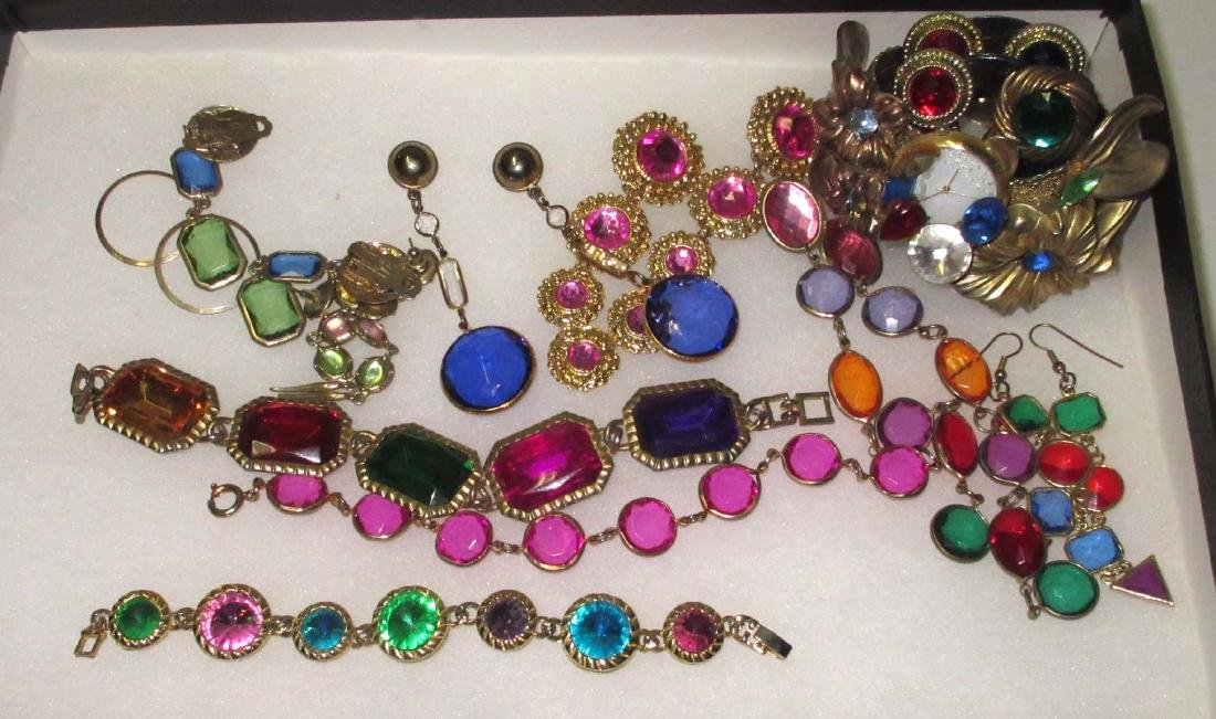 11 pc. Bold Multi Colored Rhinestone Jewelry