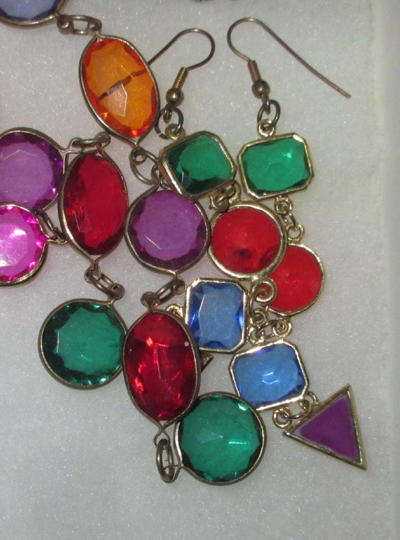 11 pc. Bold Multi Colored Rhinestone Jewelry - 4