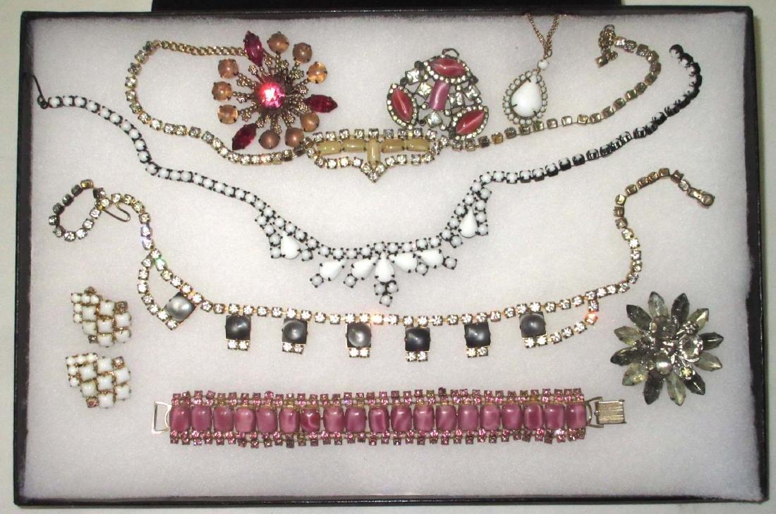 9 pc Rhinestone & Milk Glass Jewelry