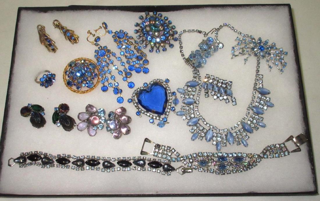 14 pc Ice Blue to Cobalt Rhinestone Jewelry