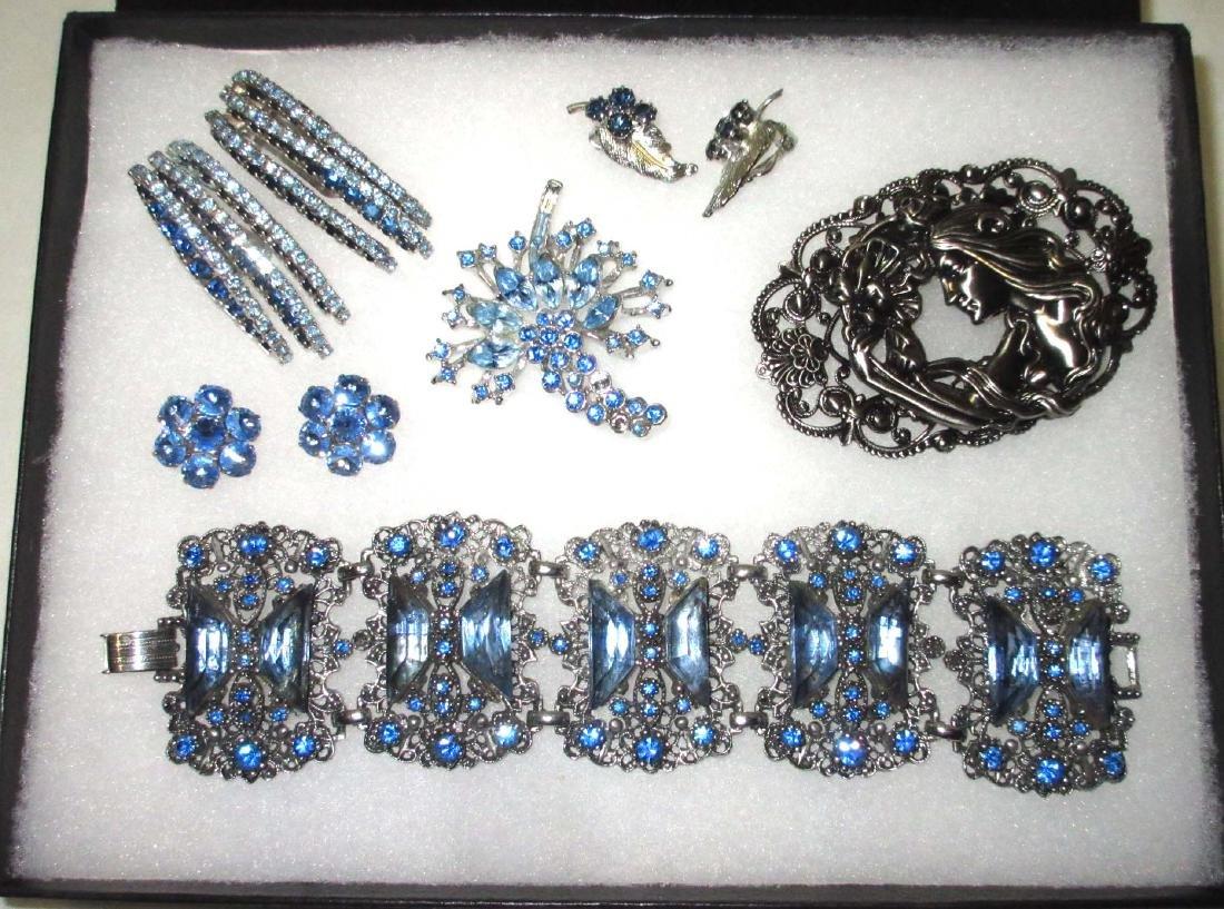 6 piece Lovely Ice Blue Rhinestone Jewelry