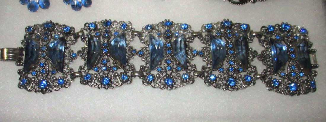 6 piece Lovely Ice Blue Rhinestone Jewelry - 4