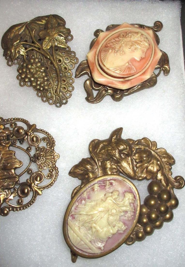 7 Victorian Style Cameo Pins - 3